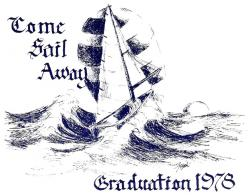 Cover of our graduation program drawn by classmate Cindy Frost