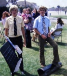 Don Holmes and Bruce Wyman pack up their instruments after the graduation ceremony