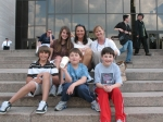 Karen Olsen and Stacey Wooden with their kids in Washington, DC, April 2007