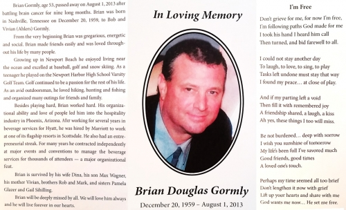We are sorry to announce the passing of classmate Brian Gormly
